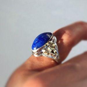 Vintage | Sterling Silver & 10k Gold Lapis Ring